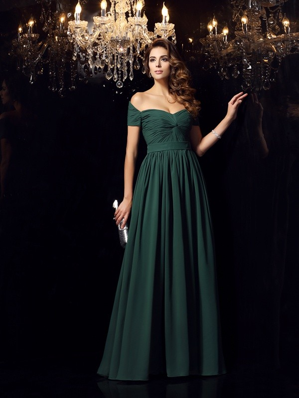 A-Line/Princess Ruched Off-the-Shoulder Sleeveless Floor-Length Chiffon Dresses