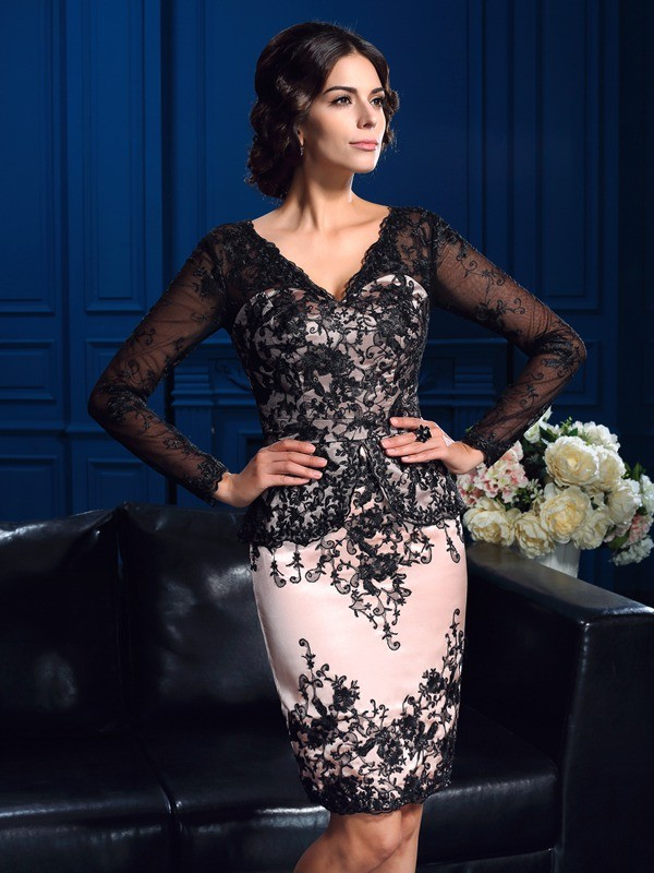 Sheath/Column Applique V-neck Long Sleeves Short/Mini Lace Mother of the Bride Dresses
