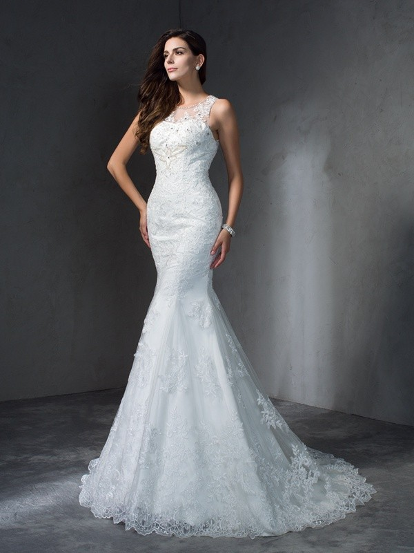 Trumpet/Mermaid Applique Scoop Sleeveless Court Train Lace Wedding Dresses