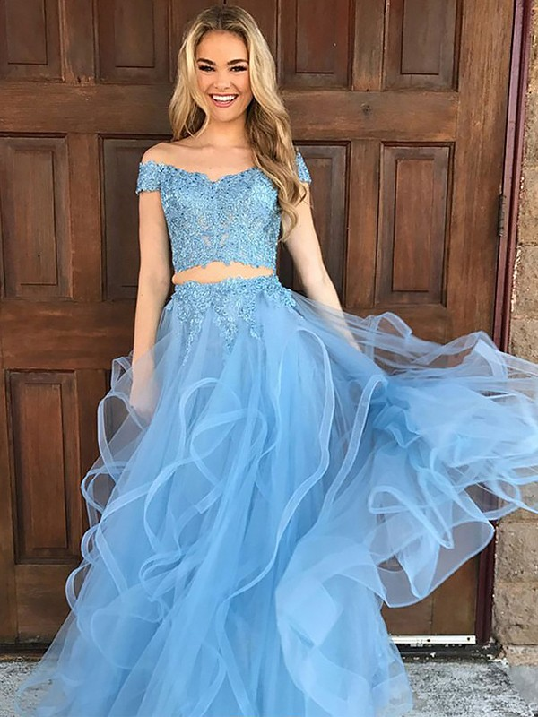 A-Line/Princess Applique Off-the-Shoulder Sleeveless Floor-Length Tulle Two Piece Dresses