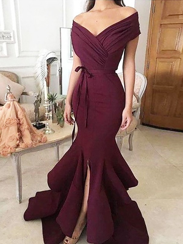 Trumpet/Mermaid Ruched Off-the-Shoulder Sleeveless Floor-Length Satin Dresses