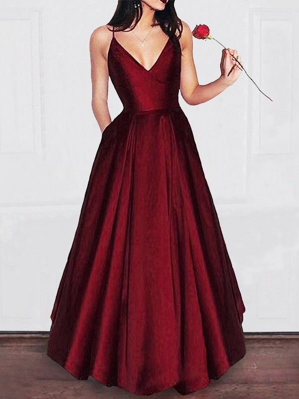 A-Line/Princess Ruffles V-neck Sleeveless Floor-Length Satin Dresses