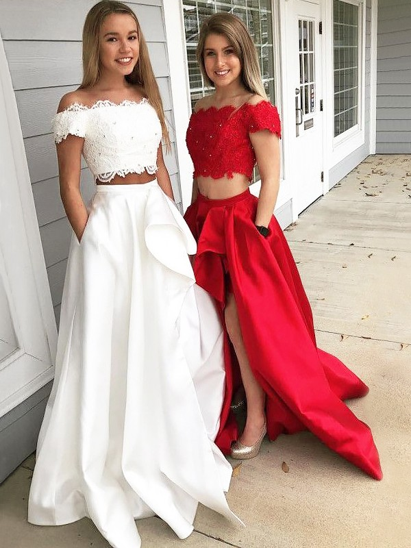 A-Line/Princess Lace Off-the-Shoulder Sleeveless Sweep/Brush Train Satin Two Piece Dresses