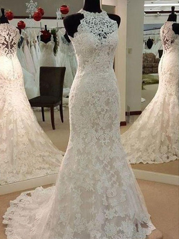 Sheath/Column Applique Scoop Sleeveless Sweep/Brush Train Lace Wedding Dresses