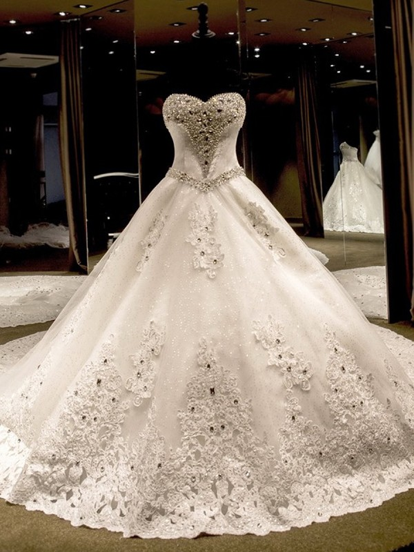 Ball Gown Sequin Sweetheart Sleeveless Cathedral Train Tulle Wedding Dresses