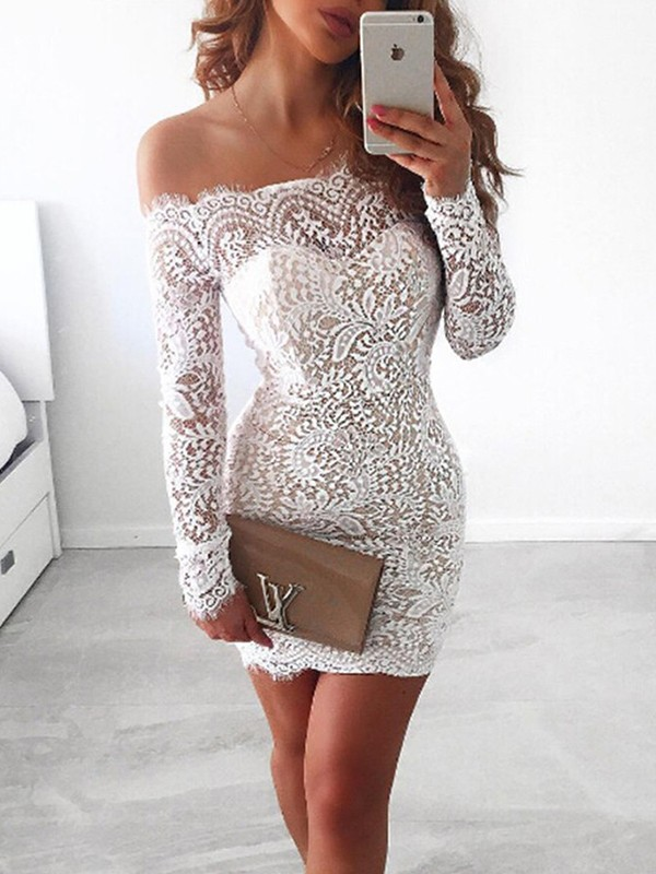 Sheath/Column Lace Off-the-Shoulder Long Sleeves Short/Mini Lace Dresses