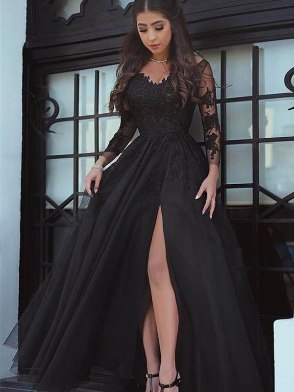 Ball Gown Applique Off-the-Shoulder Long Sleeves Floor-Length Tulle Dresses