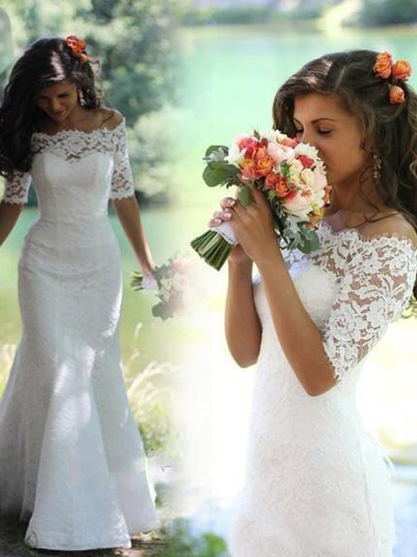 Trumpet/Mermaid Lace Off-the-Shoulder 1/2 Sleeves Sweep/Brush Train Lace Wedding Dresses