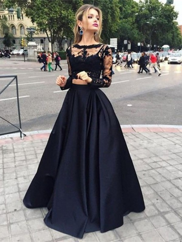 Ball Gown Beading Bateau Long Sleeves Floor-Length Satin Dresses