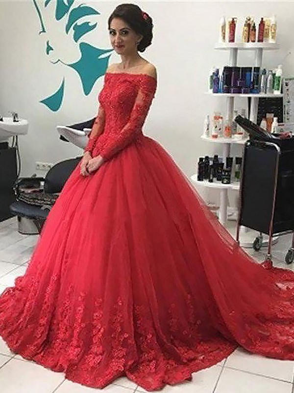 Ball Gown Lace Off-the-Shoulder Long Sleeves Court Train Tulle Dresses