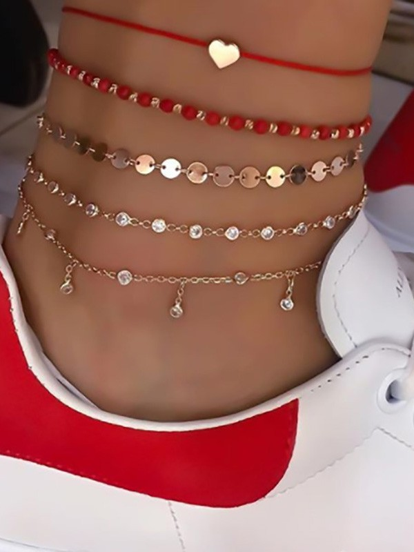 Elegant Alloy With Rhinestone/Beads Anklets(5 Pieces)