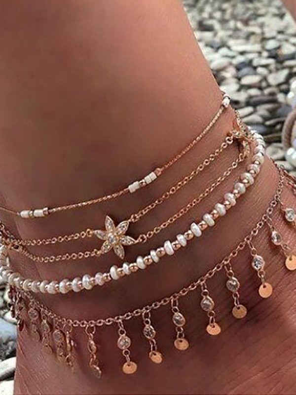Exquisite Rhinestone Alloy Anklets(4 Pieces)