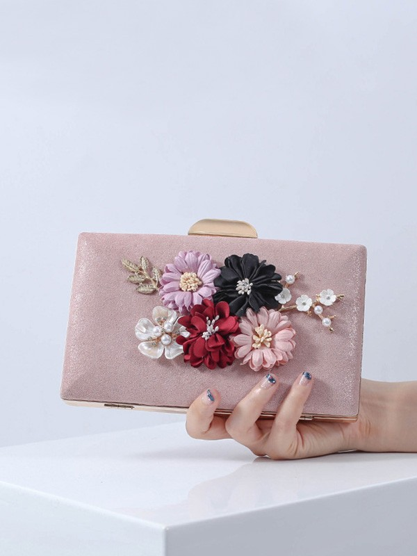 Pretty PU Evening/Party Handbags With Flowers