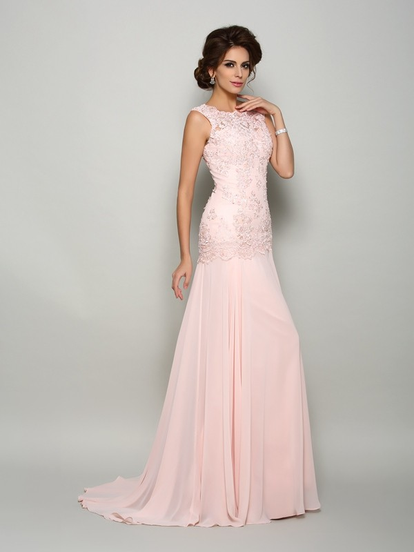 00262bcfc24 Trumpet Mermaid Beading Scoop Sleeveless Sweep Brush Train Chiffon Mother  of the Bride Dresses