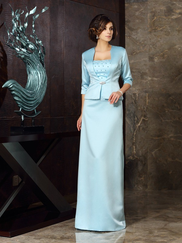 9b28f19cafc6 Sheath/Column Strapless Sleeveless Floor-Length Satin Mother of the Bride  Dresses