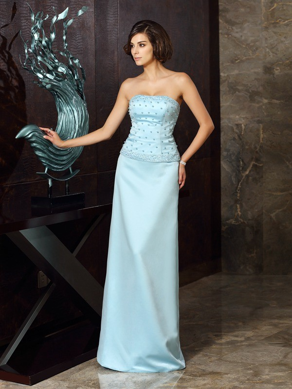 a5bd2f3f676a Sheath/Column Strapless Sleeveless Floor-Length Satin Mother of the ...