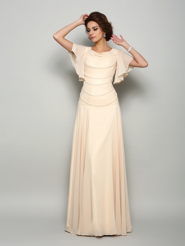 83d01980be7 A-Line Princess Beading Square Short Sleeves Floor-Length Chiffon Mother of  the