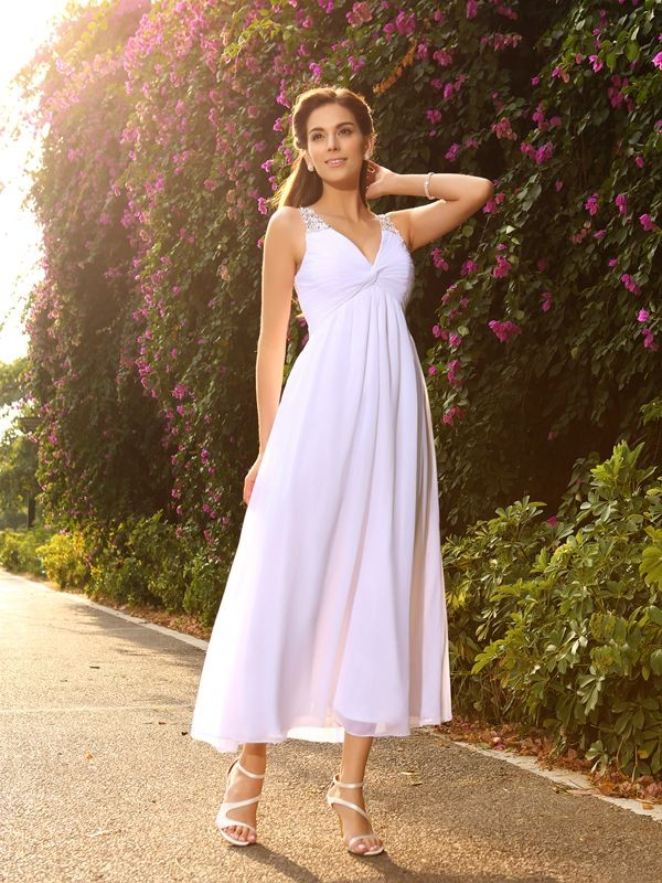 Chiffon Ankle Length Wedding Dress