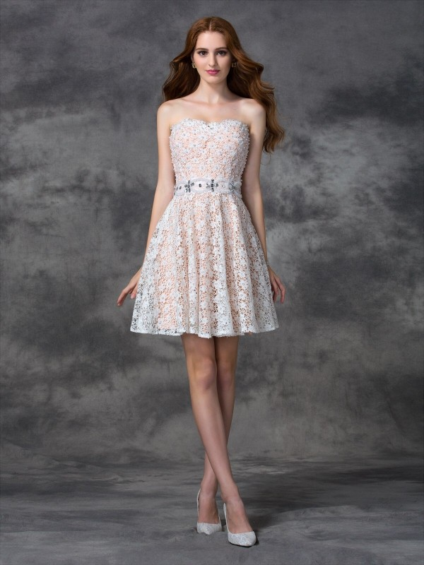 dfb23a47aa16ee A-Line/Princess Lace Sweetheart Sleeveless Short/Mini Lace Dresses -  Promhoney Online