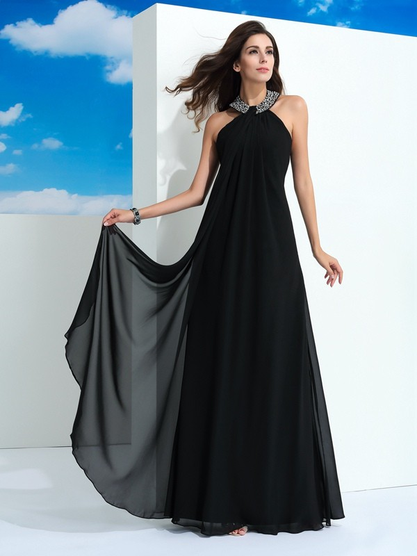 d57e03b4b1 A-Line Princess Beading Halter Sleeveless Floor-Length Chiffon Dresses