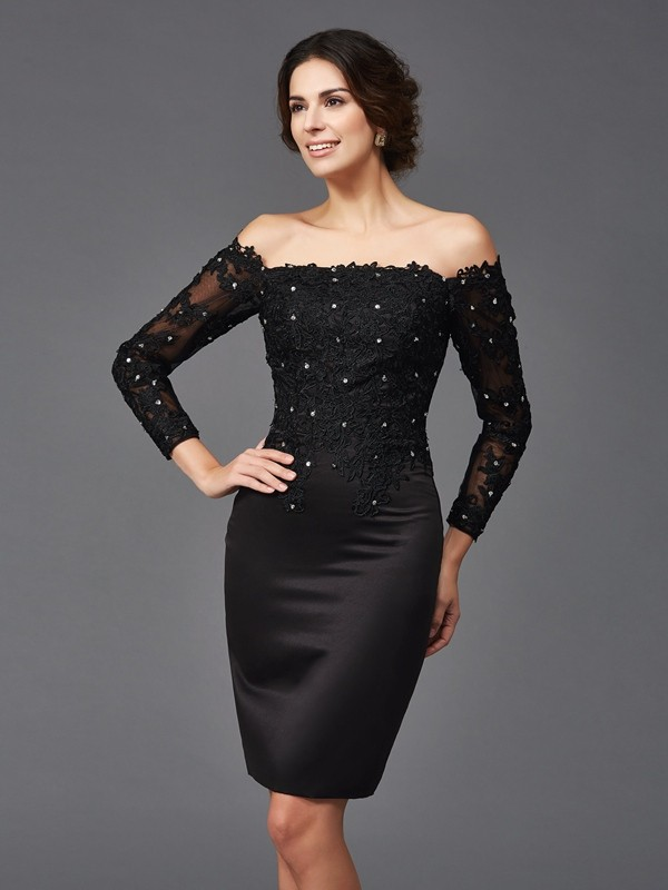 d39808f96ff4b Sheath/Column Lace Off-the-Shoulder Long Sleeves Knee-Length Satin Mother