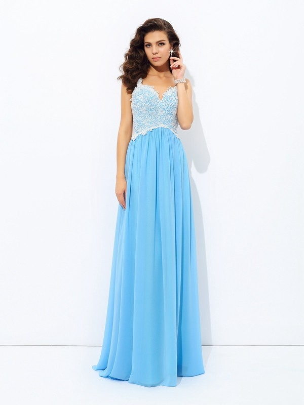 ca14b6e1d4d A-Line Princess Lace V-neck Sleeveless Floor-Length Chiffon Dresses ...