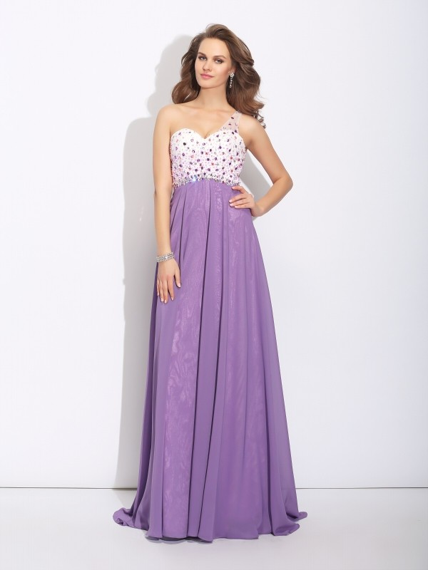 41e40d5daaf62 A-Line/Princess Crystal One-Shoulder Sleeveless Sweep/Brush Train Chiffon  Dresses - Promhoney Online