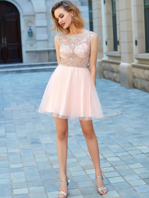 146b63dbf012d8 A-Line Princess Beading Scoop Short Sleeves Short Mini Net Dresses -  Promhoney Online