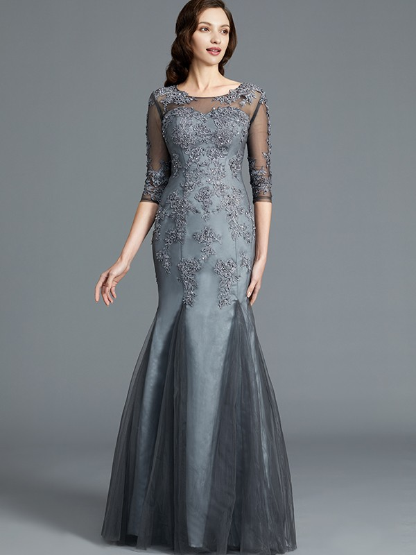 59eb92aacd34 Sheath/Column Applique Scoop 1/2 Sleeves Floor-Length Tulle Mother of the