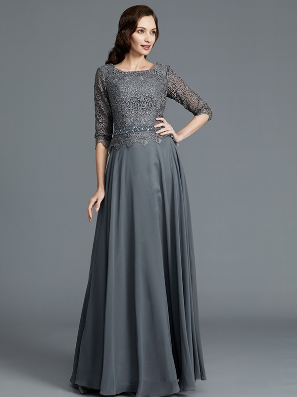 e5410ab9ce8 A-Line Princess Scoop 1 2 Sleeves Floor-Length Chiffon Mother of the ...
