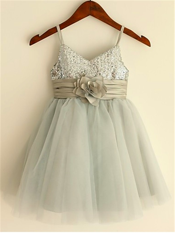 02ce7ebbc5c A-Line Princess Sequin Spaghetti Straps Sleeveless Tea-Length Tulle Flower  Girl Dresses