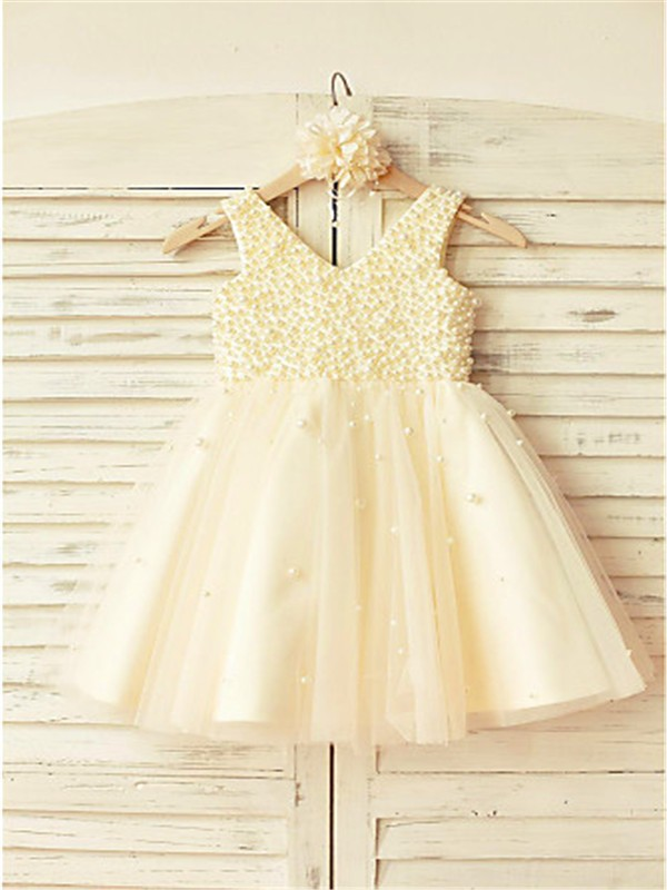 4d6c0d1ab A-line/Princess V-neck Sleeveless Pearls Tea-Length Tulle Flower Girl