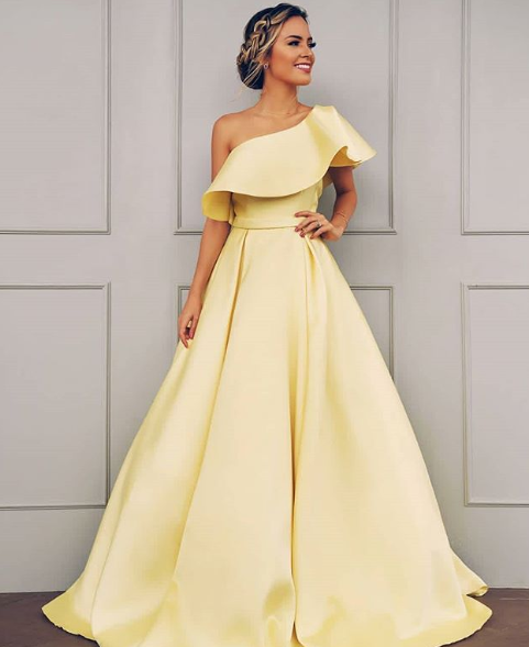 bea1b235a59 A-Line Princess Sleeveless One-Shoulder Floor-Length Ruffles Satin Dresses