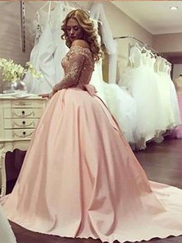 03fcd9a0373 Ball Gown Long Sleeves Off-the-Shoulder With Beading Satin Floor-Length  Dresses ...