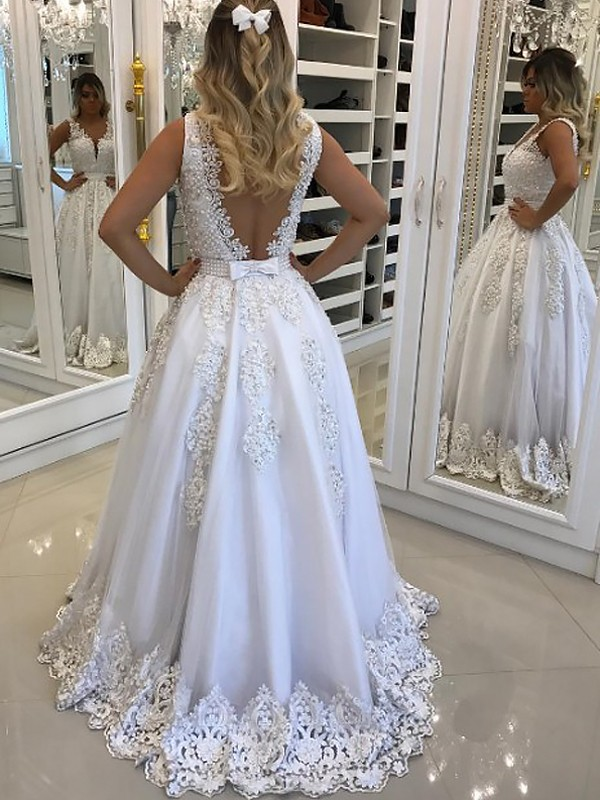 9ea711877cf A-Line V-Neck Sleeveless Sweep/Brush Train With Lace Tulle Dresses