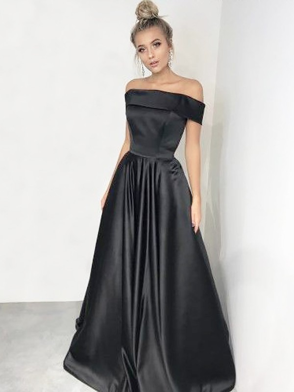 a7d6e50497b0 ... A-Line Off-the-Shoulder Sleeveless Sweep/Brush Train With Ruffles Satin