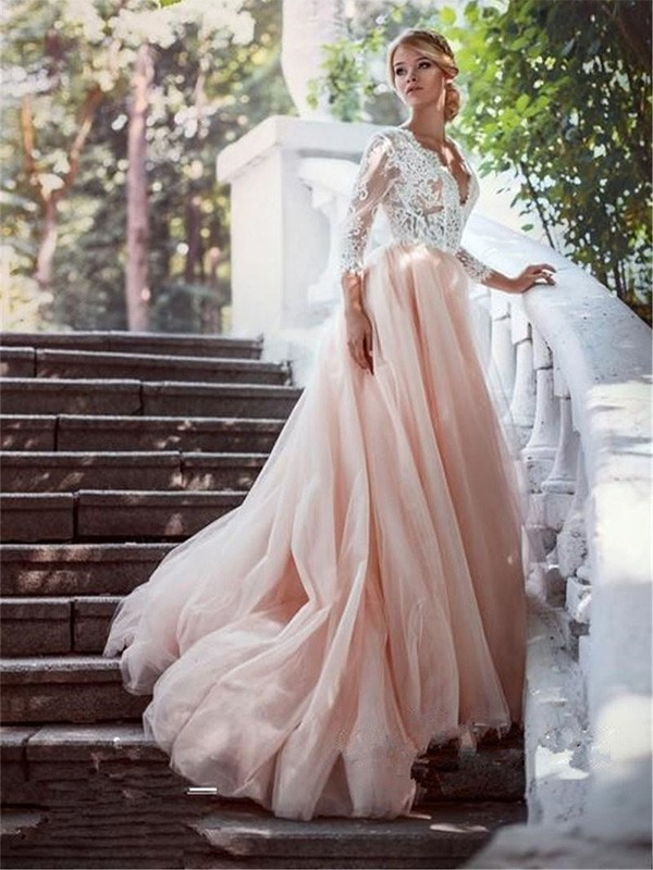 0ce8bf920d Ball Gown V-neck Court Train Long Sleeves With Applique Tulle Wedding  Dresses