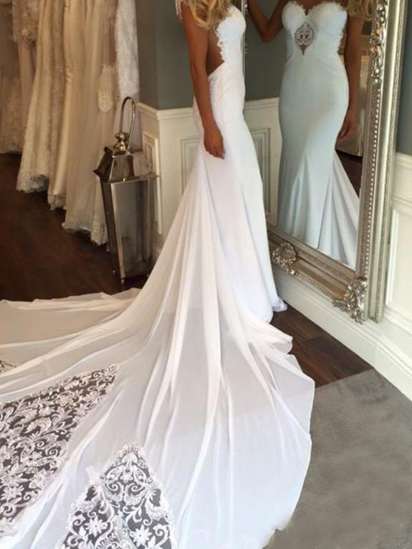 d4a0b52df262 Mermaid Sleeveless Sweetheart With Applique Cathedral Train Lace Wedding  Dresses ...