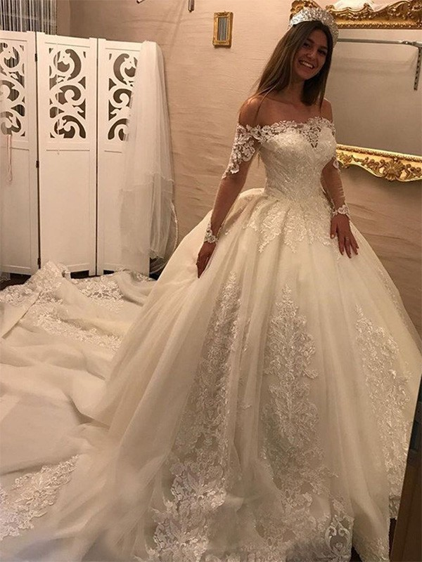 33380c788bd6 Ball Gown Applique Off-the-Shoulder Long Sleeves Cathedral Train Tulle Wedding  Dresses