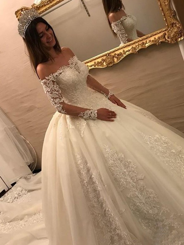 7cb63d04651b Ball Gown Off-the-Shoulder Long Sleeves Cathedral Train With Applique Tulle Wedding  Dresses ...