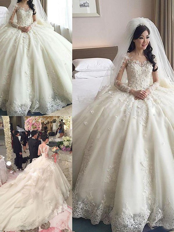 3b42b6cfffb1 ... Ball Gown Scoop Cathedral Train Long Sleeves Lace With Applique Tulle Wedding  Dresses