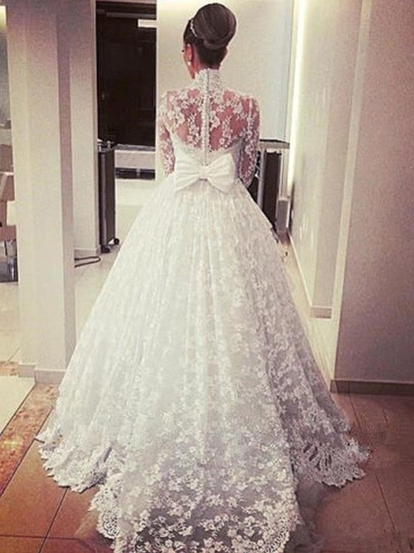 8f8306218a84b ... Ball Gown Long Sleeves High Neck Cathedral Train With Sash/Ribbon/Belt Lace  Wedding