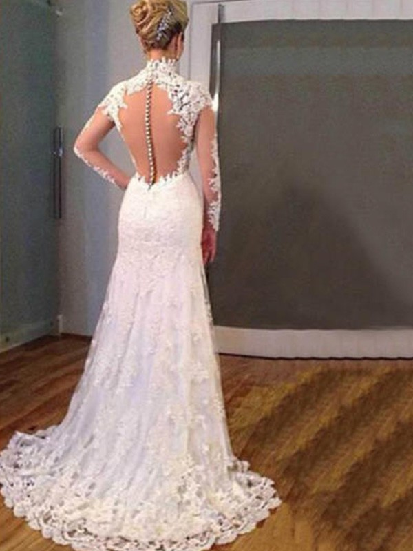 2a0626fe05a ... Mermaid Long Sleeves V-neck Sweep/Brush Train With Applique Lace  Wedding Dresses ...