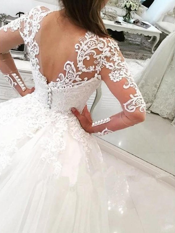 06697a1f8a3 Ball Gown V-neck Long Sleeves Cathedral Train With Applique Lace Tulle  Wedding Dresses