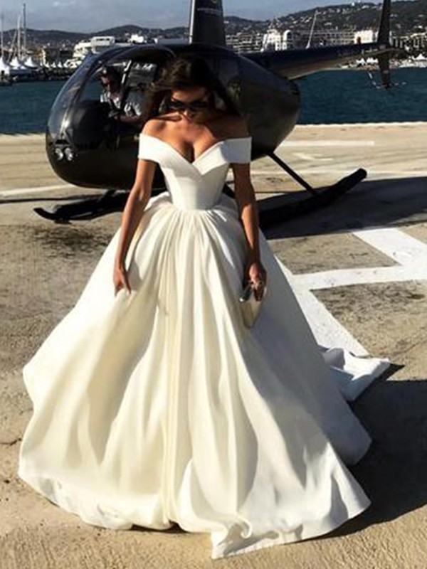 373ee855c0a Ball Gown Off-the-Shoulder Sleeveless Sweep Brush Train Satin Wedding  Dresses