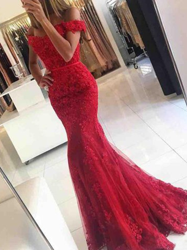 bcb6eafb4a7 Trumpet Mermaid Applique Off-the-Shoulder Sleeveless Sweep Brush Train  Tulle Dresses