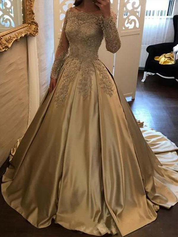 57a9b32a62b07 Ball Gown Long Sleeves Off-the-Shoulder Sweep/Brush Train Applique Satin  Dresses
