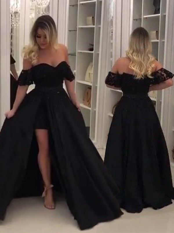 943a8bfe0b3 Ball Gown Sleeveless Off-the-Shoulder Sweep Brush Train Lace Satin Dresses