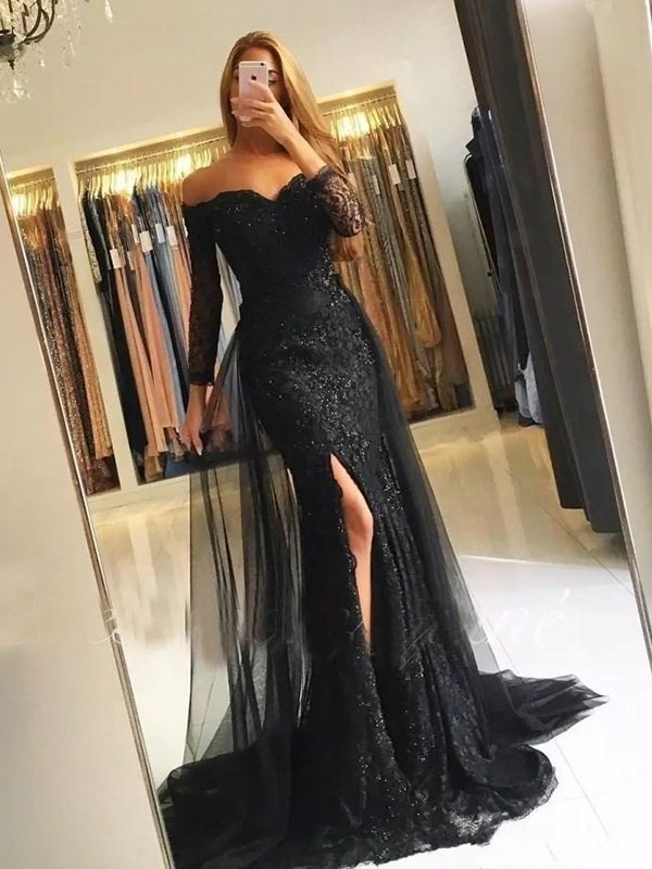 aca83cfe469 Trumpet Mermaid Long Sleeves Off-the-Shoulder Sweep Brush Train Tulle Lace