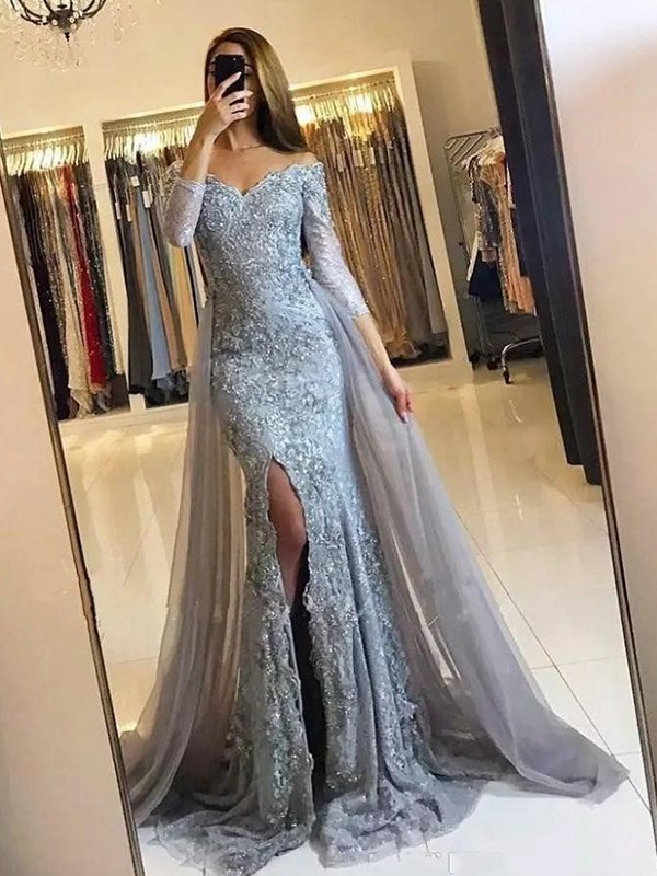 d2425a2a423 Trumpet Mermaid Long Sleeves Off-the-Shoulder Sweep Brush Train Tulle Lace